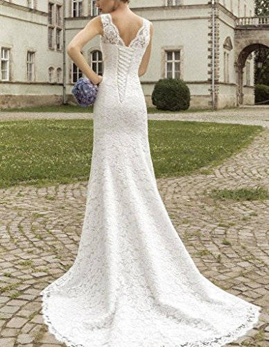 Fanciest Damen Straps Double V Neck Meerjungfrau Spitzen Brautkleider for Bride White White