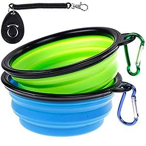 Ensemble de 2 bols de voyage portables pour chien, pliable, en silicone de Faburo, bol d'eau, de nourriture pour animal de compagnie avec un sifflet de dressage de chien