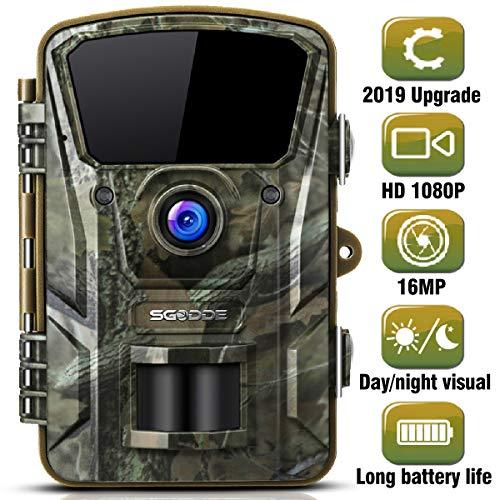 """SGODDE Wildkamera,16MP 1080P Full HD 5.0 Jagdkamera Infrarot-Nachtsicht bis zu 65 Fuß/20m,42 IR LEDs Bewegungsmelder 120 ° Weitwinkelobjektiv IP66 Wasserdicht 2.4\"""" LCD 0,7 Sekunden Auslösezeit"""