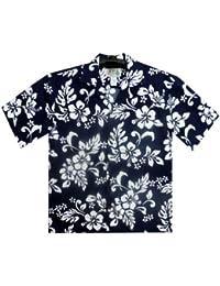 KY´s| Chemise Hawaïenne D'Origine | Pour Hommes | S - 8XL | Manche Courte | Poche Avant | Hawaiian-Imprimer | Fleurs | Bleu