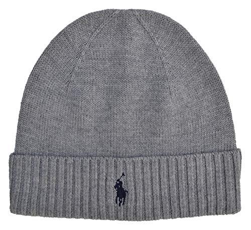Ralph Lauren Polo Beanie Hat Wool Navy Blue, Hellgrau, Einheitsgröße (Hat Polo Ralph Lauren Beanie Herren)