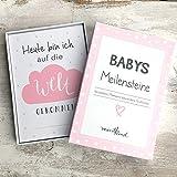 mintkind Meilensteinkarte Baby Rosa | Kartenset für Babys erstes Lebensjahr | Tolle Geschenkidee zur Geburt