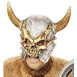 WIDMANN 00411Máscara Vikingo con Cuernos para Adultos, Plata