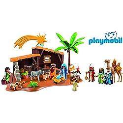 Outletdelocio. Nuevo Belen Playmobil con Luz, Establo y Reyes Magos incluidos. 119 piezas.