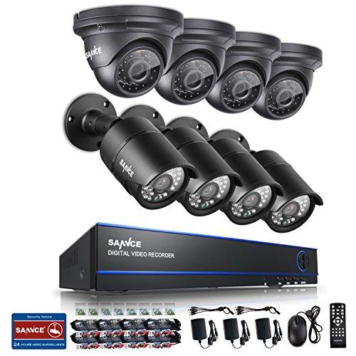 SANNCE KIT AHD DVR 8 Canali 1080P Video Sorveglianza Videoregistratore IR Telecamere di Sicurezza Impermeabile IP66 Sistema di CCTV Kit di Sorveglianza 4 Bullet Camera 4 Dom Camera 3,6MM