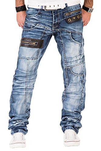Kosmo Lupo K&M 012 Designer Herren Jeans Hose Clubwear Style Blau Verwaschen Multi Pocket W29-W38 / L32-L34, Größe:W38 / L34