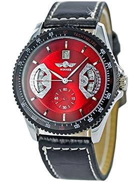 Jack Winner Sport Automatik Armbanduhr schwarz rot Herren-Uhr Flieger-Uhr Freizeit-Uhr