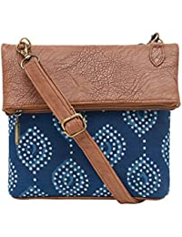 Tarusa Sling Bag In Handcrafted Indigo Has Been Paired With A Rustic Faux Leather The Look Is Casual For Everyday...