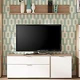 Lomadox TV-Lowboard im Retro Design SEATTLE-61 in weiß matt und San Remo Nb. Wandboard BxHxT: 148x128x48cm