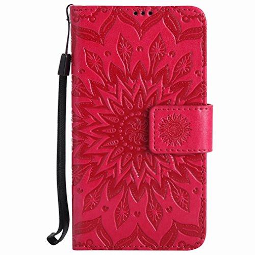 Yiizy Handyhülle für Nokia Lumia 630 Hülle, Sonnenschein Blütenblätter Entwurf PU Ledertasche Beutel Tasche Leder Haut Schale Skin Schutzhülle Cover Stehen Kartenhalter Stil Schutz (Rote)