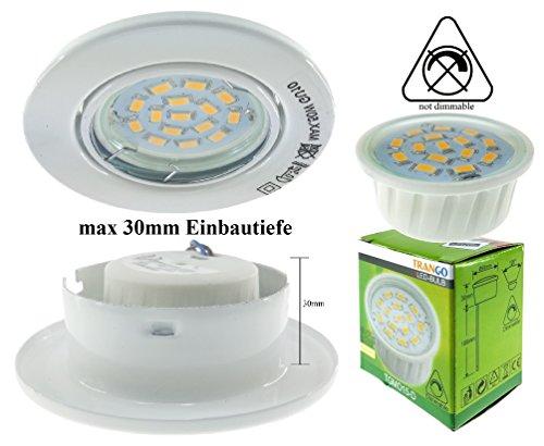 Trango 1x LED Einbaustrahler LEinbauleuchten in Rund incl. 1x6W LED Modul nur 3cm Einbautiefe (TG6729-016MO weiß)
