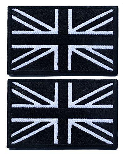 tacvasen 2Teile–United Kingdom Flagge Fahne Patch bestickte Applikation, Herren, schwarz / weiß (Pullover Jack Bestickte)