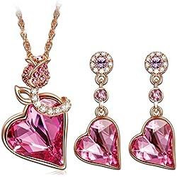 """Pauline & Morgen """"Corazon de rosa"""" Juegos de colgante y pendientes de cristales SWAROVSKI®"""
