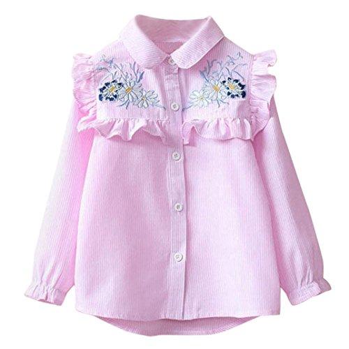 Luckycat Mode Kinder Baby Mädchen Kinder Kleinkind Streifen Stickerei Floral Shirt Bluse (Rosa, 3T--100cm)