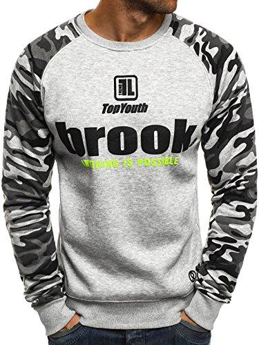 OZONEE Herren Sweatshirt Langarmshirt Sweatjacke Motiv Camouflage Muster Prints Pullover Aufdruck Pulli J.STYLE DD122 L GRAU (Super Crewneck Sweatshirt Sweat)