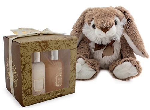 4-teiliges BRUBAKER Cosmetics Bade-Geschenkset gold mit flauschigem Plüschhasen