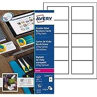 Avery 100 Cartes de Visite à Bords Lisses 270g - 85x54mm - Impression Laser - Satiné - Blanc (C32026)
