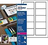 AVERY - Pochette de 100 cartes de visite à bords lisses imprimables recto/verso, En carte blanche satinée 270g/m², Format 85 x 54 mm, Impression laser, (C32026-10)...