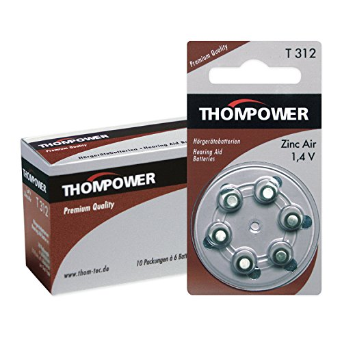 THOMPOWER 10 x 6er Pack (60 Stück) Typ T312 Hörgerätebatterien (PR 41 - Braun - 1,4 Volt - Zink-Luft)