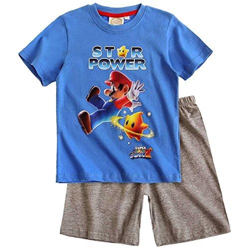 Preisvergleich Produktbild Super Mario Jungen Sommer 2-Teiler Schlafanzug Pyjama Shorty kurz 3 Typen, Farbe:blau/melange grau;Größe:116