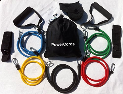 100% Cavi elastici in lattice naturale, fasce di resitenza Columbia-Bookfest ® cavi di Resistenza 11pc Set, ideale per Home Fitness, Yoga, Pilates, Abs, P90X e allenamento, con guida per allenamento. Parte dei prodotti Columbia-Bookfest ® POWERCORD.