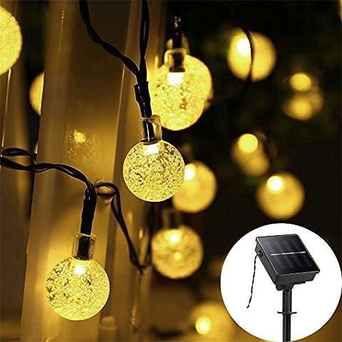GAXmi Iluminación LED Exterior Lámparas Solares 32.8ft 10m 50 LED Bolas de Cristal Cadena de Luz Impermeable Hada Burbujas Adornos 8 Modos Luces de Jardín Para Navidad Boda Fiesta (Blanco Cálido)