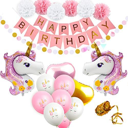 Einhorn Luftballons Geburtstagsparty Dekorationen - Birthday Party Supplies Kit, inklusive Rose Gold Happy Birthday Banner, Pink & Gold Herz Luftballons, Papier Pom Poms für Baby Shower Dekorationen