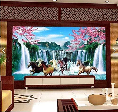 YiShuQiang Wallpaper Fototapeten 3D Fototapete Kundenspezifische Wandbild Vlies Wandaufkleber Pfirsich Blume Wasserfall Malerei Tv Wand 3D Tapete,366 * 254cm(WXH)