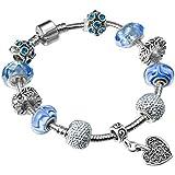 A TE®Bracciale charms da Donna e ragazza blu cristalli e ceramica Regalo festa SKU:JW-B33
