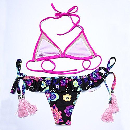 PU&PU Frauen Strand Bandeau Bikinis Zwei Stücke Set Badeanzug Druck Tassel Wireless Padless BH as figure
