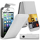 ( White ) Apple Iphone 5 Premium Faux Kredit / Debit-Karten-Slot Leder Flip Case Hülle & LCD-Display Schutzfolie by Fone-Case