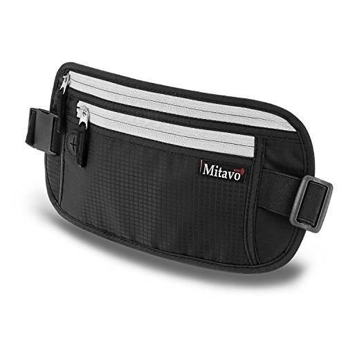 Mitavo marsupio da viaggio piatto con protezione RFID impermeabile e traspirante cintura nascosta portasoldi adatta tutti gli iPhone e Samsung nero