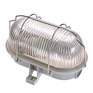 as - Schwabe 56200 E27 Oval Bulk Head with Metal Cage, 60 W, 230 V, Grey