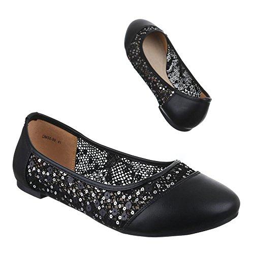 Damen Schuhe, DM58-99, BALLERINAS ÜBERGRÖßEN PAILETTEN Schwarz