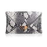 Aisi, bolso para mujer con diseño de piel de serpiente y correa dorada desmontable,...