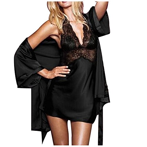 LAEMILIA Lingerie Femme Bretelle Babydoll Pyjama Dentelle Robe de Nuit Nuisette Robes de Chambre Kimonos