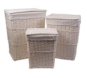 lot 3 paniers set de 3 pani res linge osier en bois peint blanc housse amovible blanche en. Black Bedroom Furniture Sets. Home Design Ideas