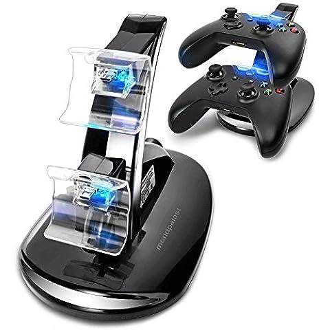 Mondpalast @ Dual Base Cargador Soporte Estaciónes muelle de la estación para Microsoft Xbox One XBOX ONE X-ONE Mando Controlador Gamepad Joypad