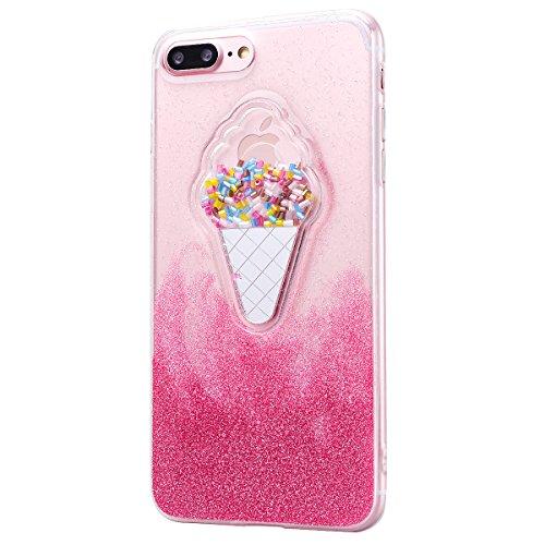 Custodia iPhone 7 Plus, VemMore Case di Silicone Morbida Protettiva Lusso Sparkle Bling Gilitter Cover con 3D Patterned Floating Liquido Fluido Premium Custodia di Cristallo Molle TPU Caso del Creativ Gelato