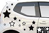 kleb-drauf® - 12 Sterne / Grau - glänzend - Aufkleber zur Dekoration von Autos, Motorrädern und allen anderen glatten Oberflächen im Außenbereich; aus 19 Farben wählbar; in matt oder glänzend