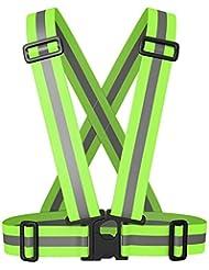 Rightwell Réglable Gilet de Sécurité Réfléchissants élastique Haute Visibilité Réfléchissant Gilet de Sécurité Harnais pour Nuit Courir,Jogging,vélo,Marcher,Mototourisme(Fluorescent Vert)