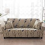 HYSENM 1/2/3/4 Sitzer Sofabezug Sofaüberwurf Stretch weich elastisch farbecht Blumen-Muster, Spargel 2 Sitzer 145-185cm