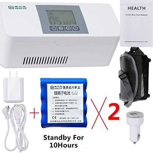 Tragbarer Insulinkühlschrank Mit Großer Kapazität, Wiederaufladbarer LCD-Monitor Mit Präziser Temperaturregelung 2-8 ° C Auto Kleiner Medizinischer Minidrogenkühler/Reise/Familie/Patient,Cset -