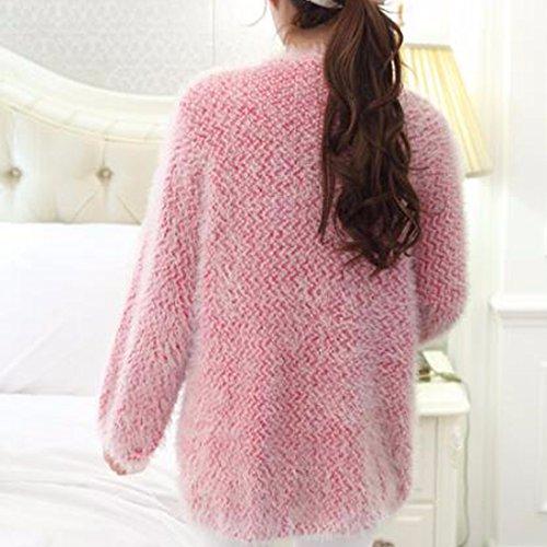 QIYUN.Z Femmes Lanterne Manches En Tricot Outerwear Cardigan Chandails Longs Ouvert Avant Rose Rouge
