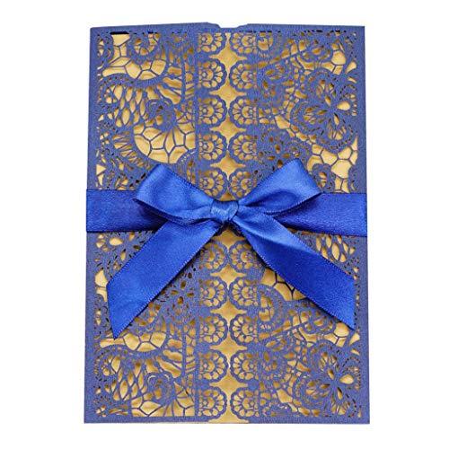 ladungsKarten Glückwunsch Einladung Karten, 20 Stück Elegante Blume Spitze 4 in 1 [ Hohle Hülse+Leere Karte+Umschlag+Bowknot ] Hochzeitskarten - auch Für Geburtstag/Taufe ()