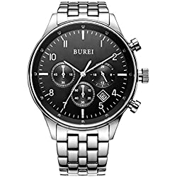 BUREI Herren Armbanduhr Quarz Chronograph Edelstahl BM-7006-51E