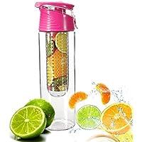 COCOSO Pink Fruit Infusing Water Bottle with Fruit Infuser and Flip Lid Lemon Juice Make Bottle- BPA Free (800 ml)
