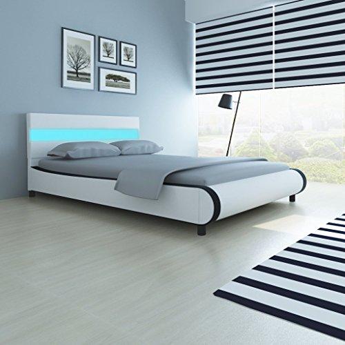 Festnight Bett Doppelbett Gästebett Schlafzimmerbett mit 140 cm LED-Leiste am Kopfteil und 200 x 140 cm Memory-Matratze (Polsterbett Taste)