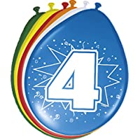 8 Happy 4th Birthday Balloons Assorted Colours preiswert