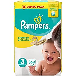 Pampers - Pañales para bebé (tamaño 3, 66 por paquete)